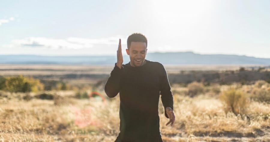 Dahlak Brathwaite dances with Arizona landscape in background